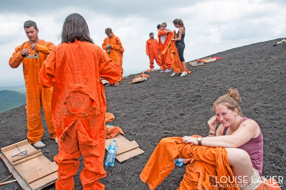 Cerro Negro, Volcano Boarding, Leon, Bigfoot Hostel, Yeity.com, Nicaragua, Tours, Thrill Ride, Bucket List, Central America, The Outfit, Orange Jumpsuits, Goggles