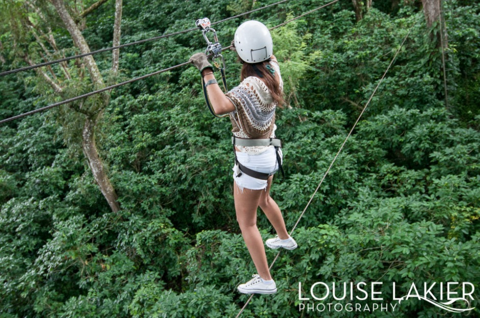 Tight rope walking on the Cafe Las Flores Canopy Tour