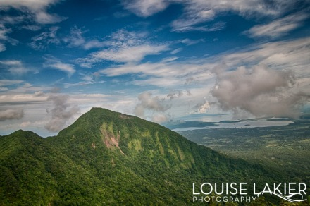 The view of Lake Nicaragua and Ometepe Island from Volcano Mombacho
