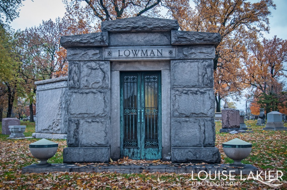 A classical mausoleum in Oakwoods Cemetery