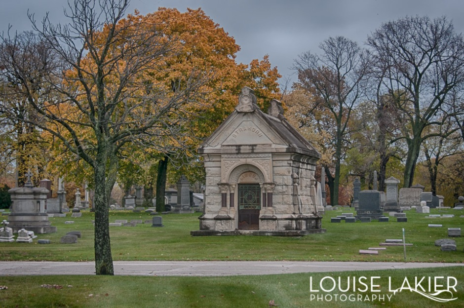 A Romanesque mausoleum in Oakwoods Cemetery
