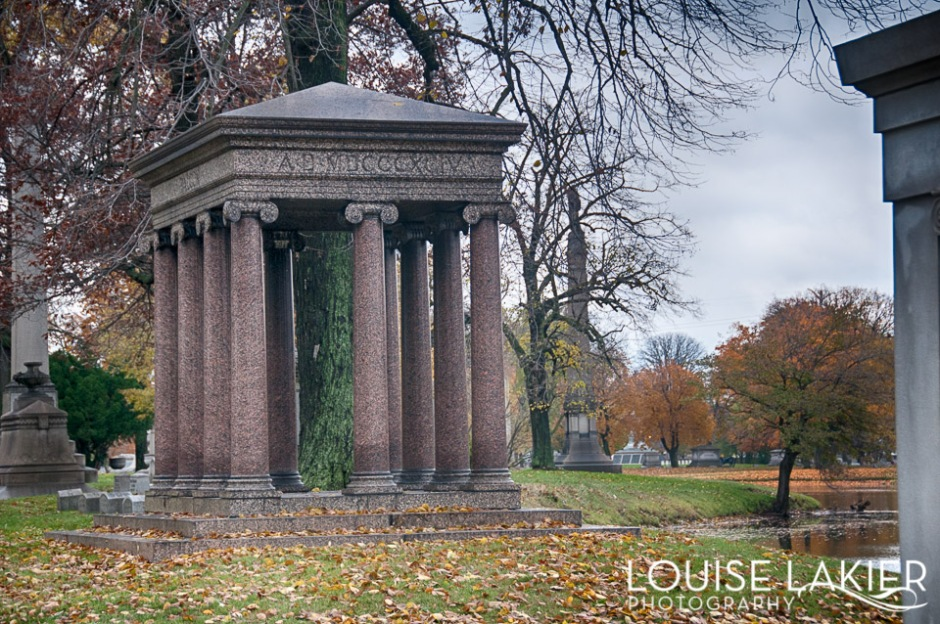 Ionic columns on a mausoleum in Oakwoods Cemetery